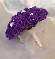 WEDDING BOUQUET ARTIFICIAL FLOWERS PURPLE WHITE FOAM ROSE BRIDE WEDDING FLOWERS